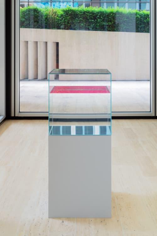Pink en Bright Green van Ann Veronica Janssens zijn twee met paraffineolie gevulde glazen kubussen.