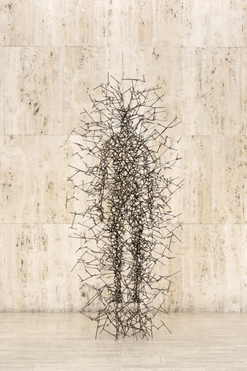Quantum Cloud IV by Antony Gormley is a sculpture that translates the space we experience when we close our eyes.