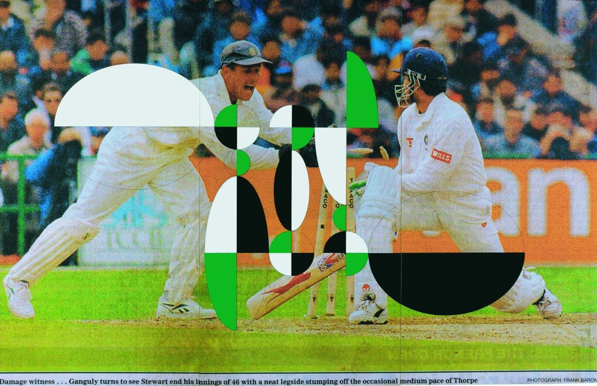 Atomist: Double Stump by Gabriel Orozco captures the same moment of a cricket match from an opposite perspective.