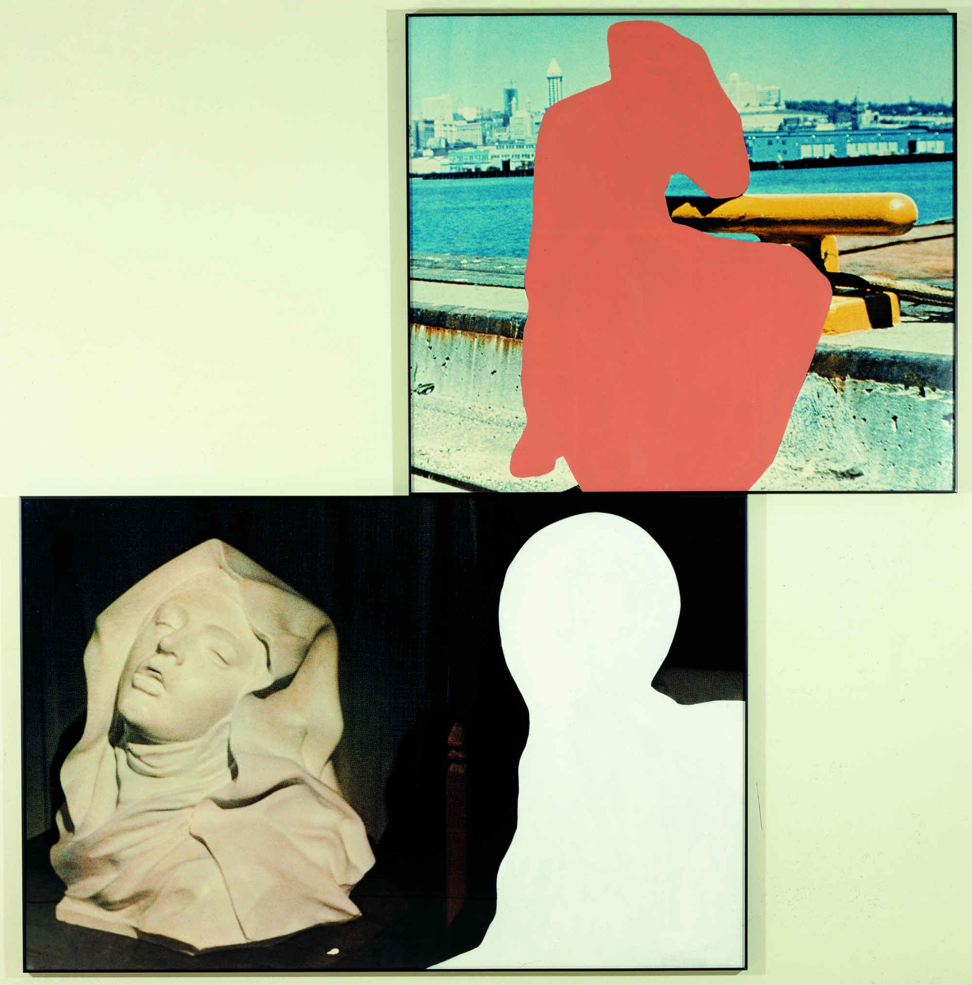In Pink Shape over Enrapted Figure (near white shape), John Baldessari mixes photo and film, abstract and figurative.