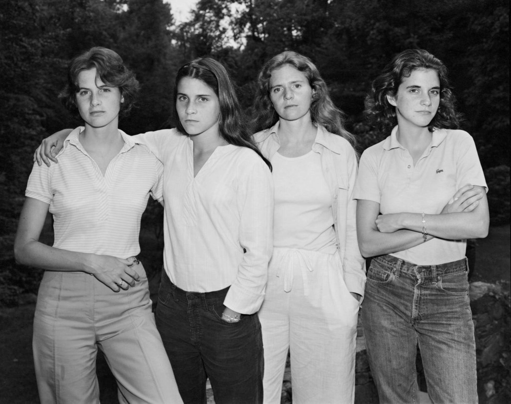 Nicholas Nixon takes a black and white photo of the Brown Sisters every year. You see four women gradually get older.