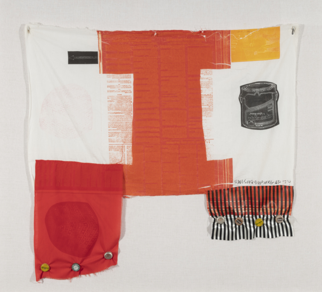 A patchwork of materials that had another life before, that is Airport Series: Cat Paws by Robert Rauschenberg.
